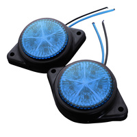 10Pcs Round Side Marker LED Light Indicator Lamp For Van Car Truck Trailer 12V Blue