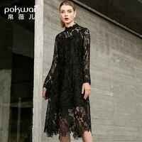 POKWAI/2018 г. осеннее женское новое модное платье трапециевидной формы с длинными рукавами и воротником стойкой из двух предметов, черный компл