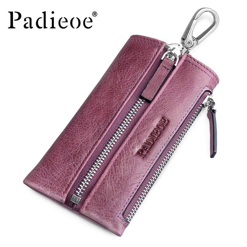 Padieoe Genuine Leather Car Key Wallets Women Cards Key Holder Housekeeper Keys Organizer Case Bag Pouch Purse With Coin Pocket