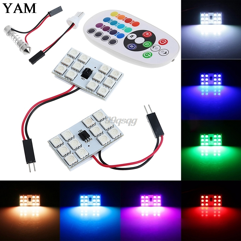 T10 5050 12/15/24/36 SMD RGB LED Car Festoon Dome Reading Light /signal lamp Lamp Bulb Remote Control Drop shipping