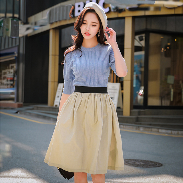 Dabuwawa Women Versatile Skirt 2018 New High Waist Apricot Solid Ruched Mid Skirts