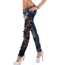 Lekkie koronki boczne szwy dżinsy niskiej talii dżinsy damskie odchudzanie denim kobiet dżinsy dopasowane dżinsy o wysokiej elastyczności tanie tanio Kobiety Jeans COTTON Pełnej długości light Zipper fly Zmiękczania skinny Ołówek spodnie Na co dzień Y111509 boussac