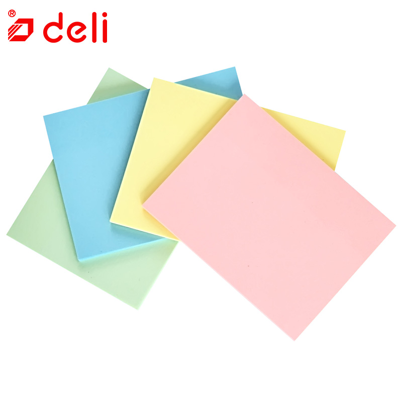 Deli 4 colors Self Adhesive Memo Pad Sticky Cute Candy Color Sticky Notes Bookmark Point It Marker Memo Sticker Paper 4Pcs