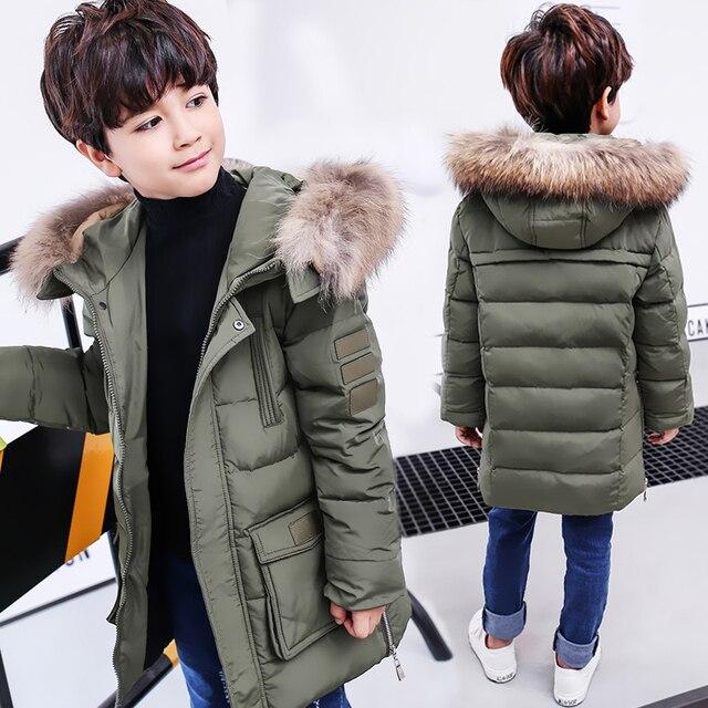 Зимняя куртка для мальчиков на холодную зиму, детские толстые парки на утином пуху, Детская верхняя одежда с меховым воротником с животными, зимнее пальто для мальчиков-30 градусов