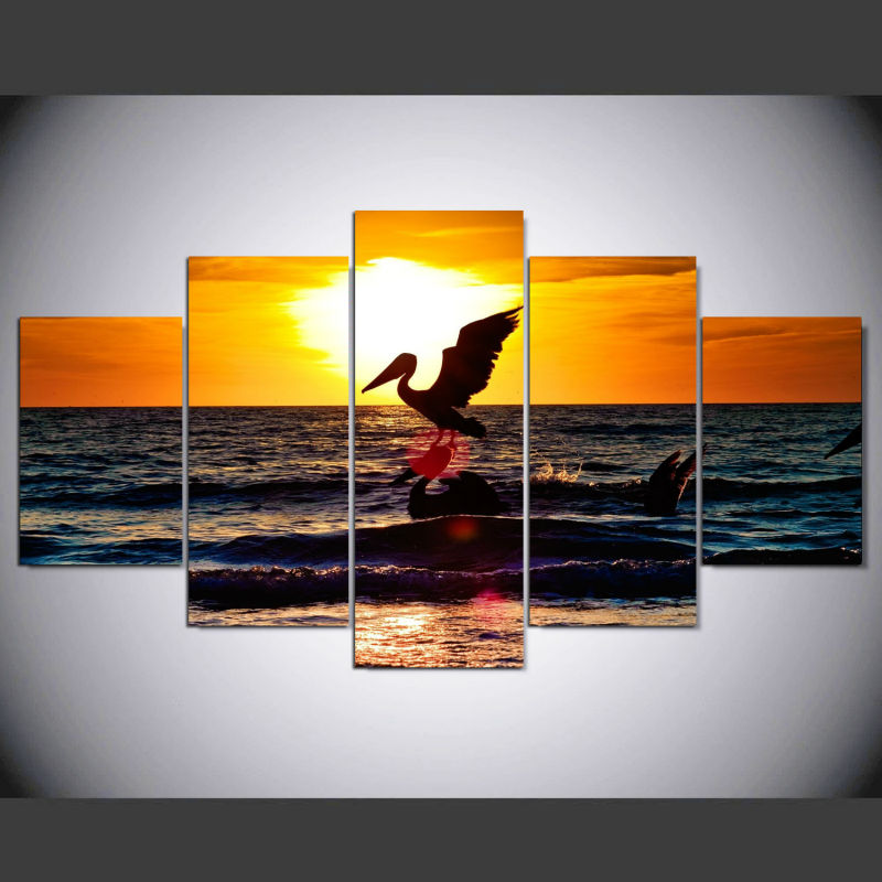 5 Piece Set Two Pelicans In Sunset Modern Art Home Decoration Canvas Picture Wall Painting