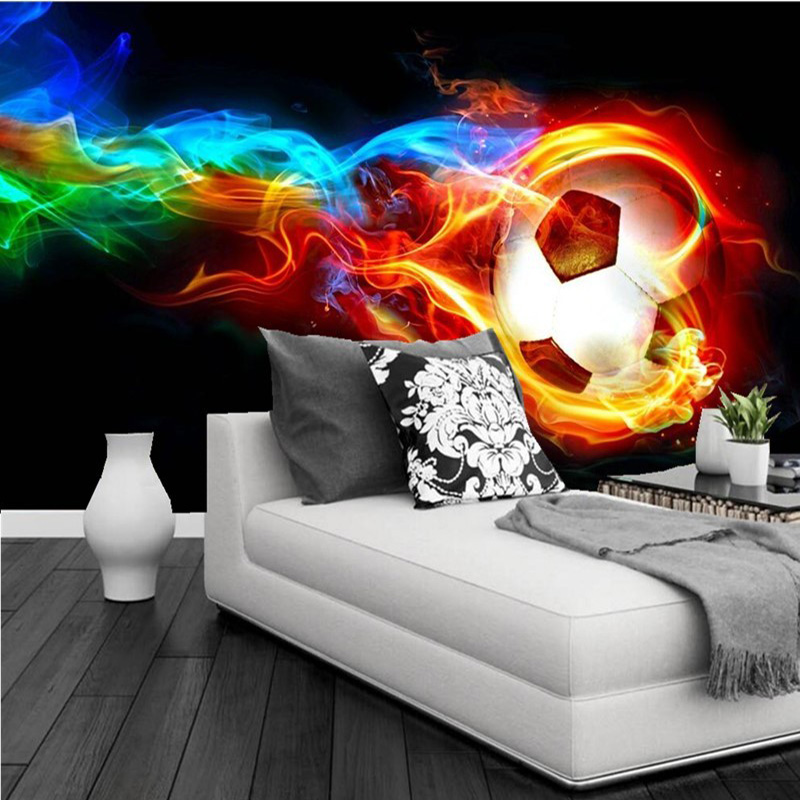 Cool Color Flame Football 3D Photo Wall Mural Wallpaper Personalized Customization Living Room Bedroom Interior Design Wallpaper