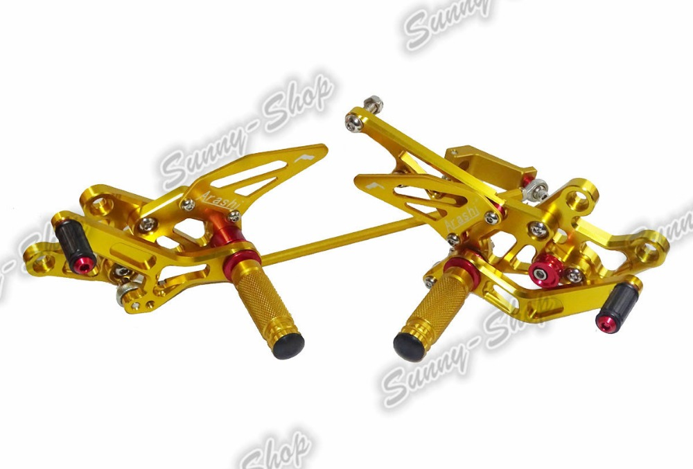 waase CNC Aluminium Adjustable Rider Rear Sets Rearset Foot Rest Pegs Gold For YAMAHA FZ8 RN25