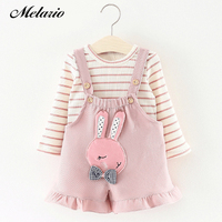 Melario Baby Dresses 2018 Cartoon Cute Rabbit Baby Girls Clothes Printing Girls Party Dress Princess Dress