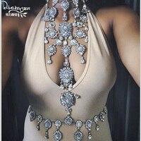 Dvacaman merk 2017 luxe lichaam sieraden mode bloem crystal choker ketting & hanger vrouwen sexy verklaring sieraden bijoux o12