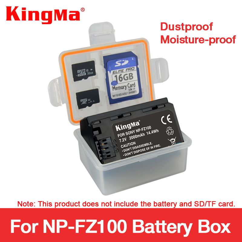 KingMa 5 PCS NP-FZ100 NPFZ100 Battery Plastic Case Holder Storage Box For NP FZ100 Alpha A9 A7R 3 Alpha III A7 MARK Battery Box