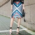 INU050 Новое Прибытие 2016 женщины высокой талией мода геометрическая отпечатано оболочка юбка-карандаш
