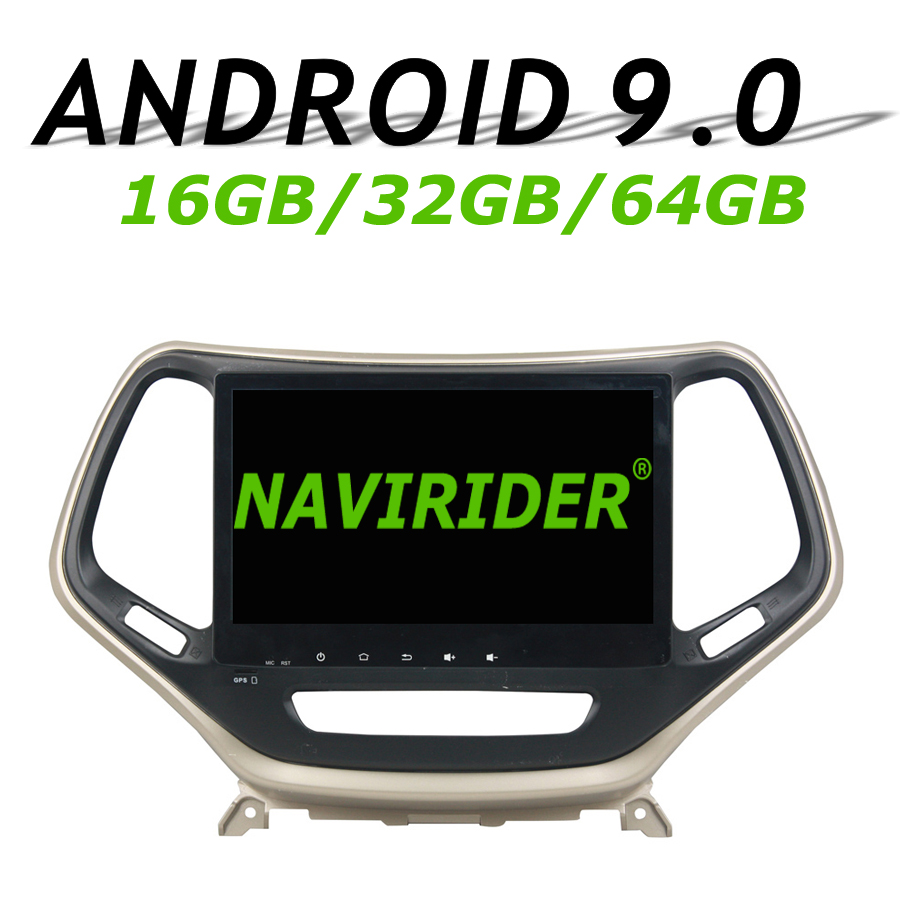 Haute configuration Octa Core Android 9.0 voiture GPS multimédia pour JEEP Cherokee 2016-2017 autoradio bluetooth 64 GB grande mémoire