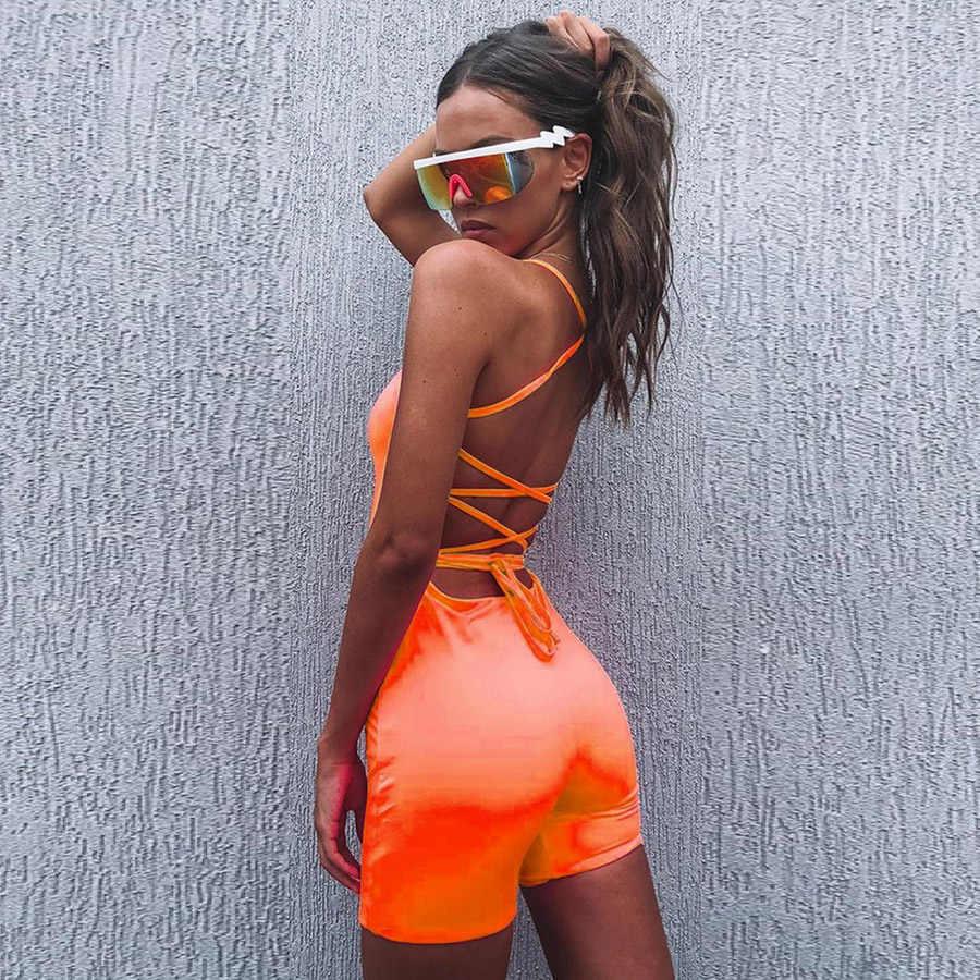 Kliou mujer playsuit sexy espalda descubierta bandage design skinny bodysuit 2019 nueva llegada neón verde naranja Correa back lace up mamelucos