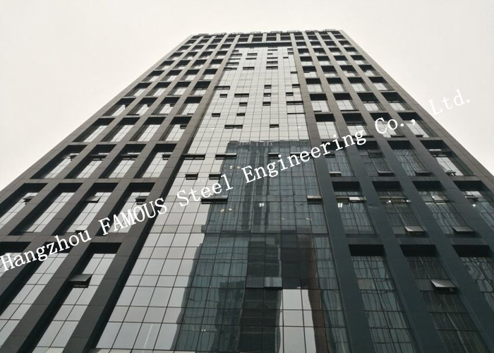 Double Layer Insulation Glass Curtain Wall Stick Built System Transparant