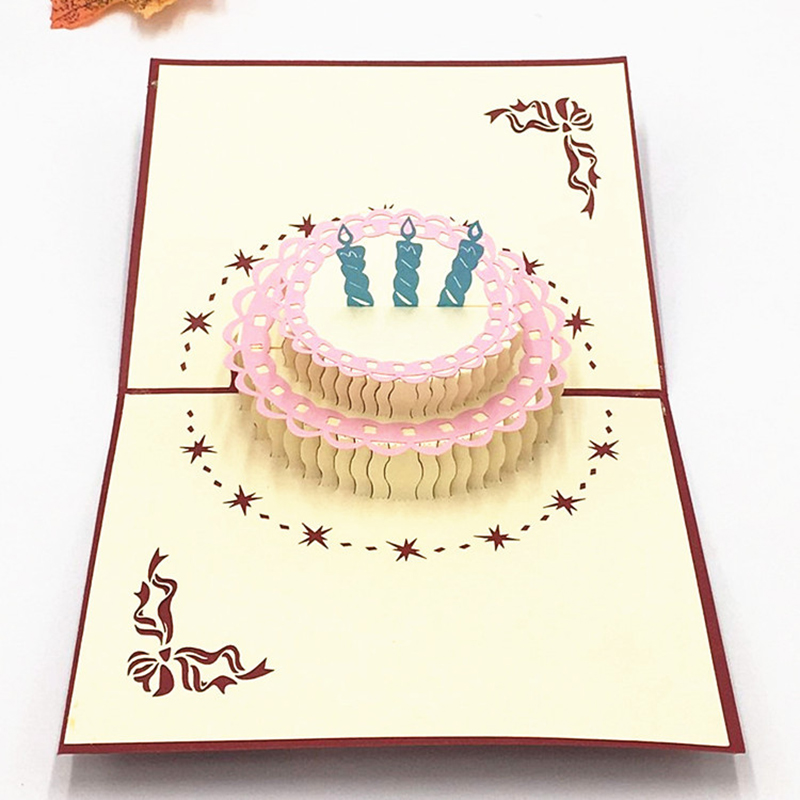 Hollow Out Birthday Cake Postcard Greeting Gift Cards