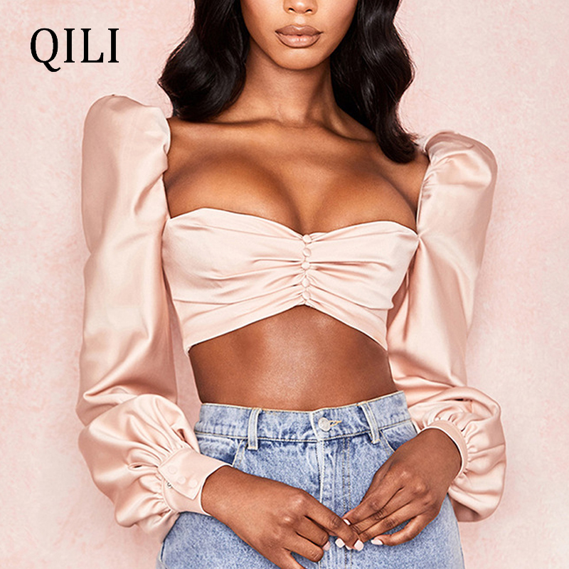 QILI High Quality Poplin Shirt Short Blouse Pink Slash Neck Full Sleeve Pleated Button Top Women Reflective Satin Blouse Shirt