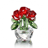 H&D Xmas&Lover's Gift Crystal Three Red Rose Figurines Paperweight Crafts&Collection Table Ornaments Souvenir Home Wedding Decor