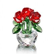 H & D di Cristallo Rosso Rosa Per I Regali di san valentino Bouquet di Fiori Figurine Sogni Ornamento con il contenitore di Regalo di Nozze A Casa decor