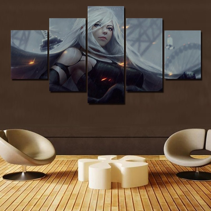 Wall Art Pictures Canvas Posters 5 Panel HD Cartoon Characters Printed Home Decoration Abstract Girl Bedroom Paintings Framed