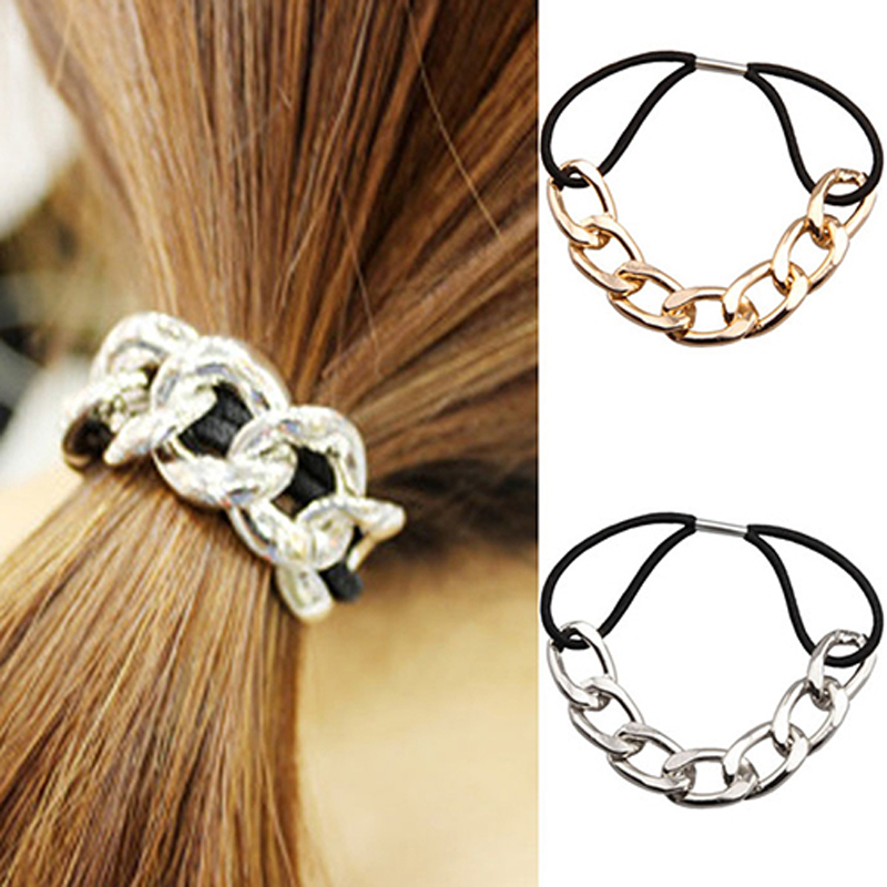 5pcs Punk Hair Rubber Band Gold Silver Plated Woman Elastic Hair Band Rope Ties Metal Ponytail Holder Girls Hair Accessories
