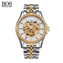 ANGELA BOS Top Brand Luxury Waterproof Wrist Watch Business Watch Men Mechanical Automatic Stainless Steel Skeleton Mens Watches
