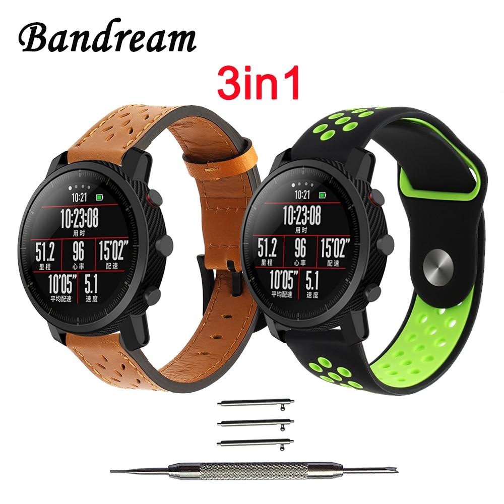 3in1 Montre Bande pour Amazfit Stratos 2 2 S Xiaomi Huami véritable Bracelet En Cuir + Double Couleur Silicone Bracelet En Caoutchouc + outil