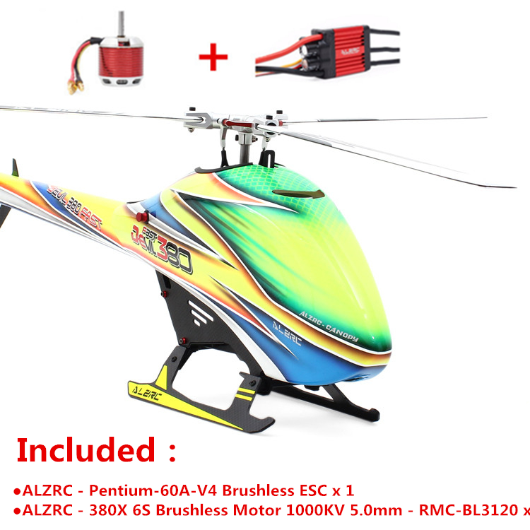 ALZRC - Devil 380 FAST TBR Combo - Silver (Included Pentium-60A-V4 ESC X1 and Motor 1000KV 5.0mm - RMC-BL3120 x 1) RC Helicopter alzrc devil 380 fast fiberglass painting canopy set s a s b