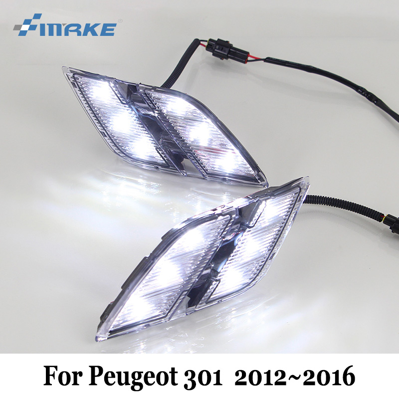 SMRKE DRL For Peugeot 301 2012~2016 / Car LED Daytime Running Lights / Car Styling Day Driving Lamp / Free Shipping car styling front lamp for t oyota for tuner 2012 2013 daytime running lights drl