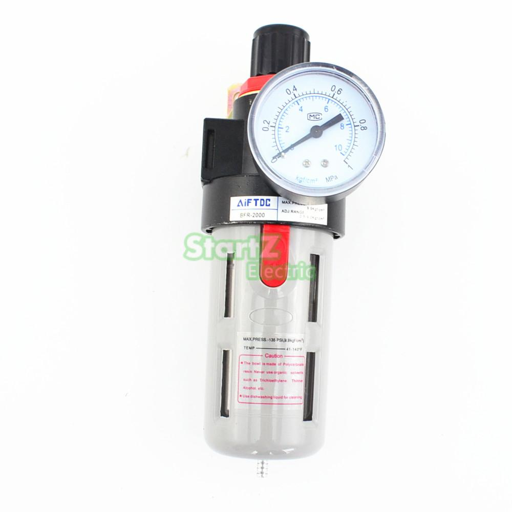 3/8'' Pneumatic Air Souce Treatment Filter Regulator w Pressure Gauge BFR-3000 1 4 bfr 2000 air source gas treatment pressure filter regulator model bfr2000 with pressure gauge