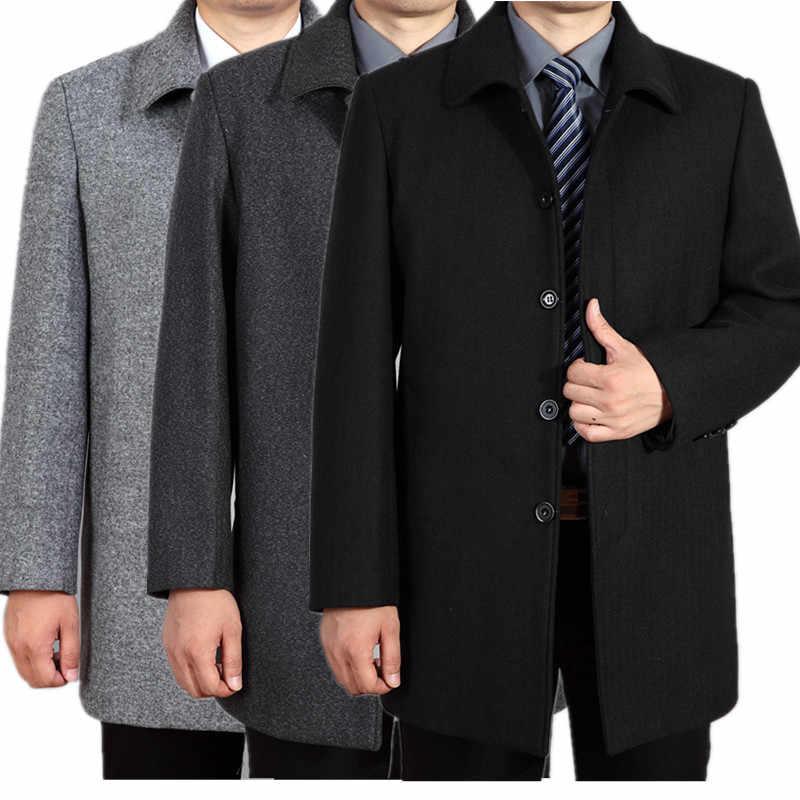 Плюс Размеры 4xl Шерстяное пальто Для мужчин брендовая одежда средней длины Для мужчин S Куртки и Пальто для будущих мам отложной воротник осеннее пальто Для мужчин куртка wuj1097