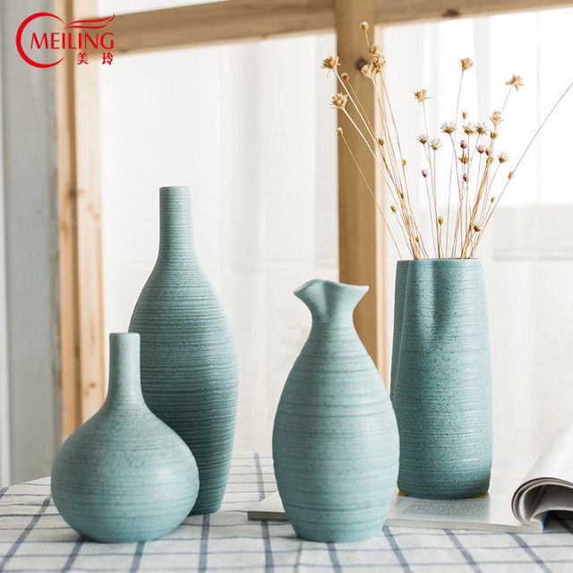Meiling Modern Light Blue Ceramic Vase For Centerpieces Elegant Fine