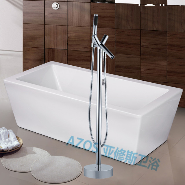 Bathtub Faucets Luxury Chrome Copper Water Mixers Floor Stand Hand Hold  Bathroom Shower Sauna Kit LDTZ012