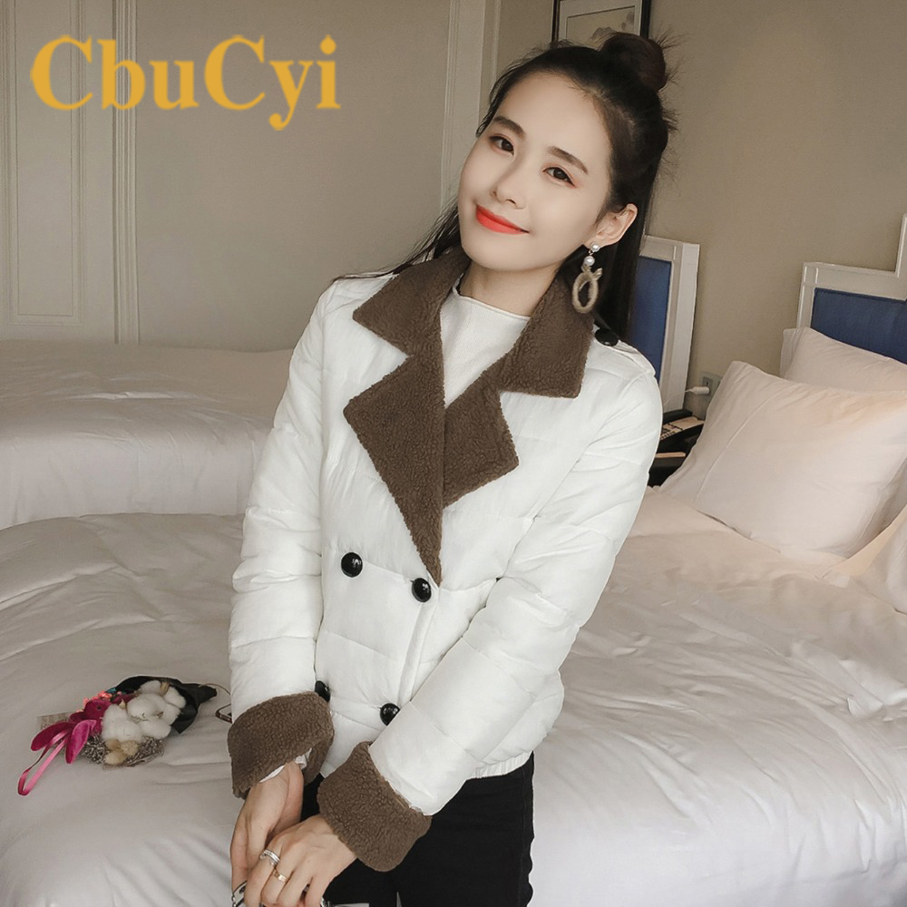CbuCyi Winter Coats Women Short Jackets Slim Full Sleeve Single Breasted Lapel Parka Office Lady Outwear Fashion Parkas Jackets