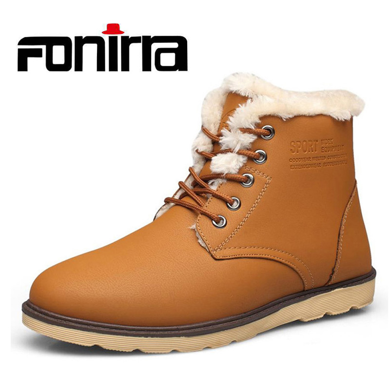 FONIRRA Fashion High-top Man Ankle Boots Plush Warm Men's Winter Pu Leather Shoes Lace-up Snow Boots Causual Shoes For Men 736 new fashion men basic black winter warm shoes high top nuduck genuine leather luxury brand ankle snow boots flats size 38 44