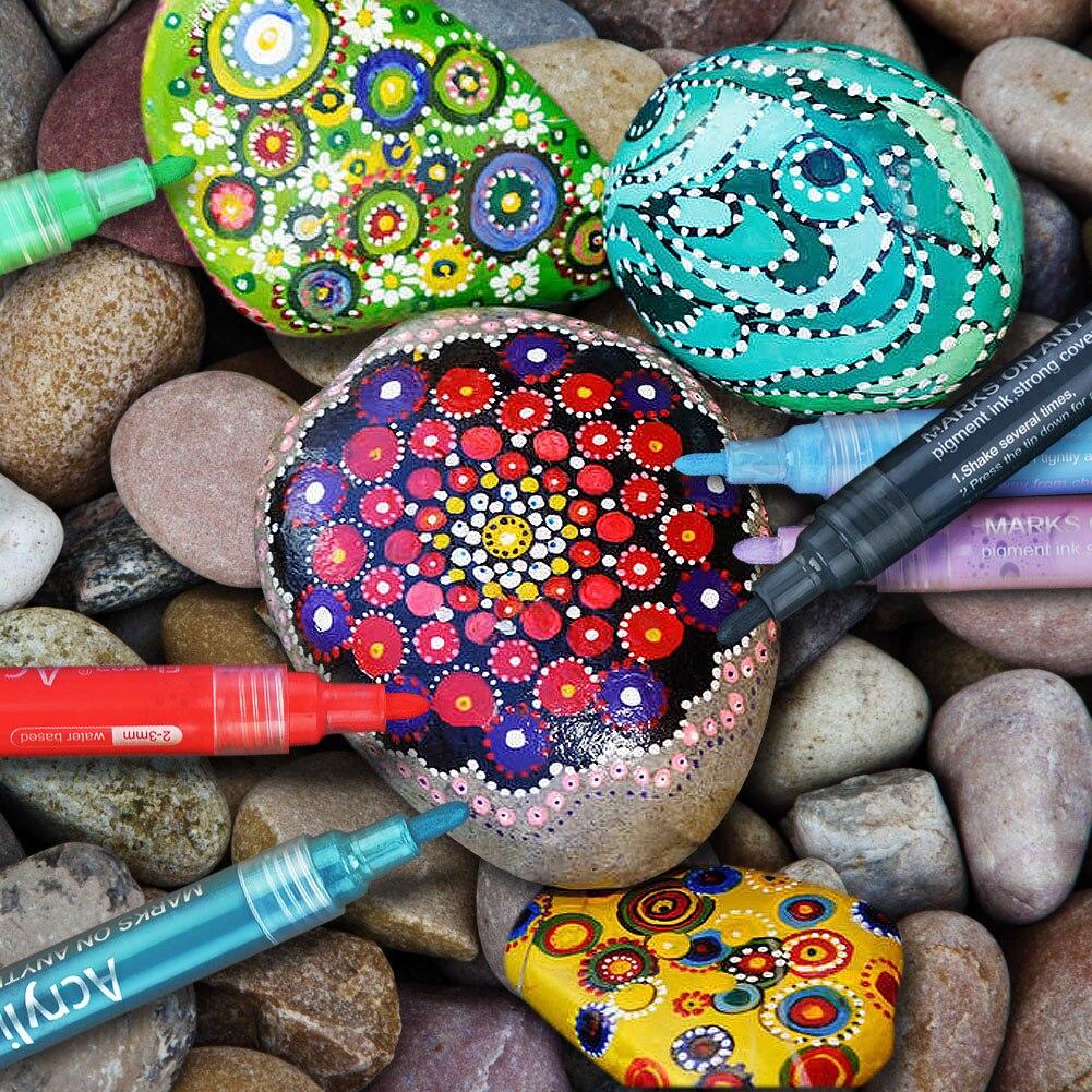 24Pcs Kids Colorful Drwing Toy Pen DIY Craft Waterproof Permanent Paint Markers Graffiti Acrylic Paint Pens Rocks Wood Painting