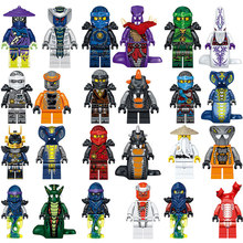 LELE 31035 24pcs/Set Little people Lloyd Kai Master Vermin Sensei Wu Snake Bronk Zane Building Blocks gift Ninja go Movie 2018(China)
