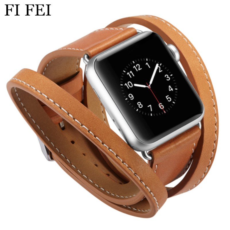 FI FEI Extra Long Leather Band Double Tour Bracelet Leather Strap Replacement Watchband for Apple Watch Series 1 2 3 38mm 42mm leonidas genuine leather double tour for apple watch band replacement extra long watch strap for apple watch bands 42mm and 38