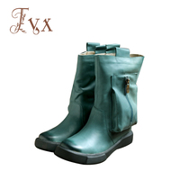 Tayunxing Handmade Shoes Genuine Leather Zipper Wedges Women Boots Ankle Low Heel Comfort Casual Personality 208
