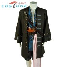 Hot Movie Pirates Of The Caribbean Jack Sparrow Cosplay Costume Uniform Men Jacket Pant Vest Halloween