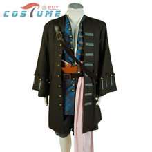 Pirates Of The Caribbean Jack Sparrow Hot Movie Uniform Men Jacket Pant Vest Halloween Cosplay Costume Outfit Jacket