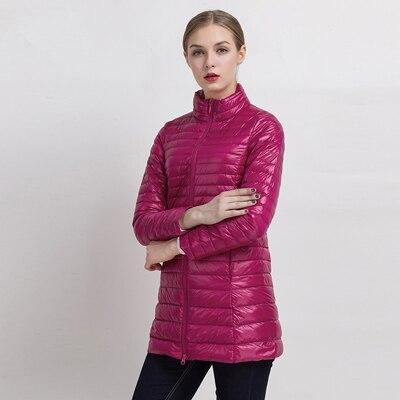 90% белый утиный пух пальто ультра светильник тонкий длинный пуховик портативное Женское зимнее пальто размера плюс Chaquetas Mujer - Цвет: Rose red