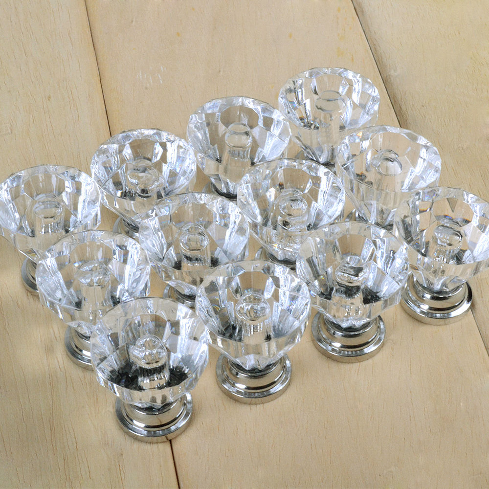 2016 new 12x clear crystal glass door knobs drawer cabinet furniture pull handles in cabinet Glass furniture pulls