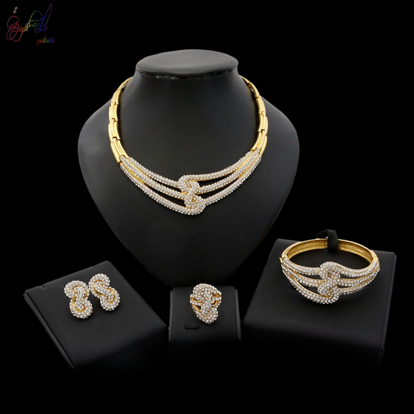 YULAILI 2018 New Coming Imitation AD Gold Necklace Bracelet Earrings Ring Jewelry Set for Ladies Costume ad adl5375 15acpz adl5375 15 lfcsp24 new