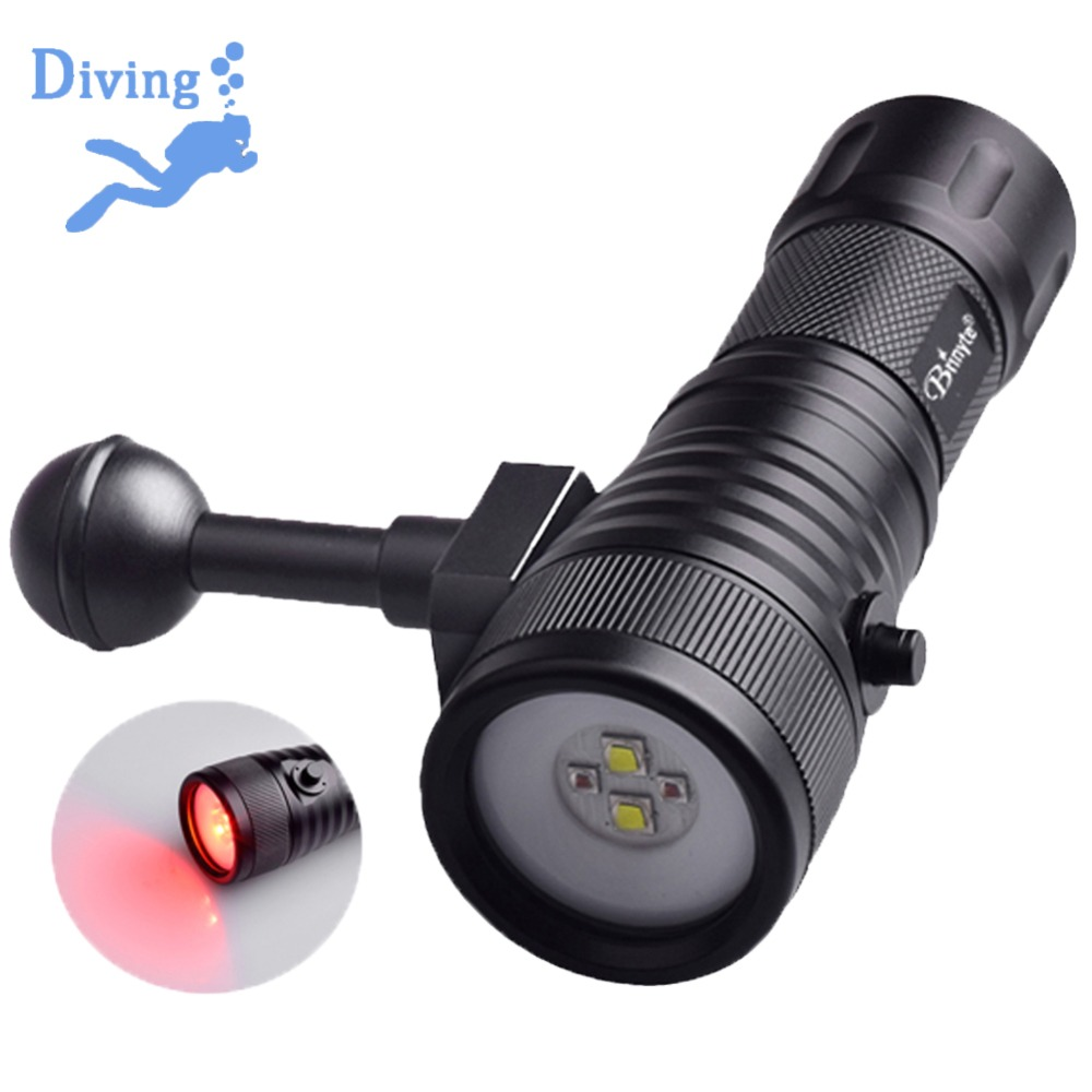 Asafee DIV08W Diving Torch for Photography White Red Color LED Colorful Light Underwater Diving Torch Video Scuba Flashlight archon d26vr 2000 lumen white and red led scuba diving underwater photography video light