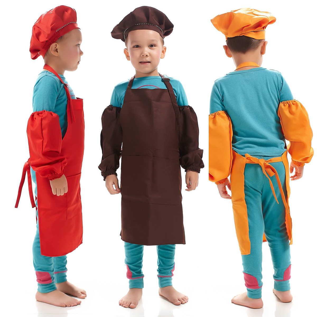 Children Multicolor Cooking Clothing Chef Uniform for Kids Kitchen Cosplay Halloween Party Costume Boys Girls Apron Hat Cuff in Girls Costumes from Novelty Special Use