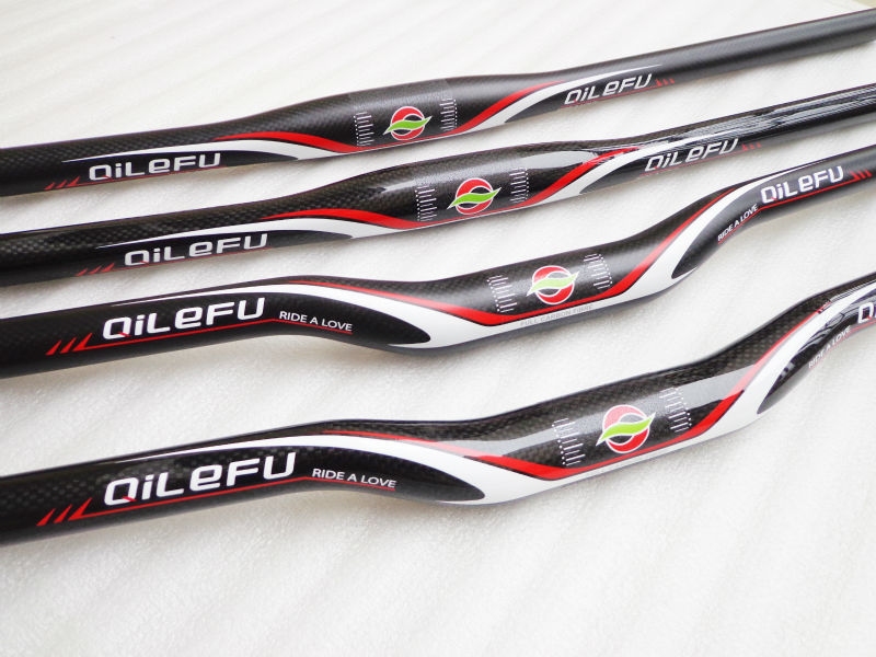 New QILEFU flat rise swallow shaped Mountain bike 3K full carbon fibre bicycle <font><b>handlebar</b></font> 31.8*600-740mm MTB parts Free Shipping