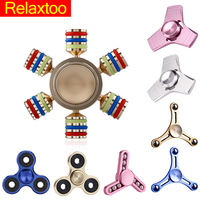 EDC Fidget Metal Spinner Rainbow Trispinner Zinc Hand Spiner Aluminum Alloy Fidget Puzzles Toy Anxiety Stress Adults Handspinner