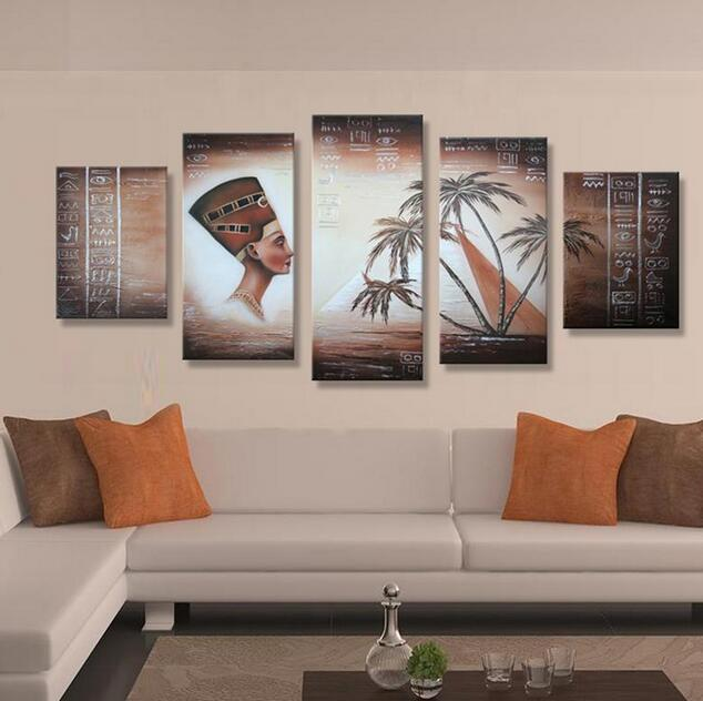 Handmade Buddha Oil Painting On Canvas From China Home Goods Wall Art Decoration 5 Panels For