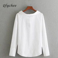 Qlychee Back Bow Tie Lace Up Women Blouse Blusas Solid Autumn Spring Fashion Shirt Top Female