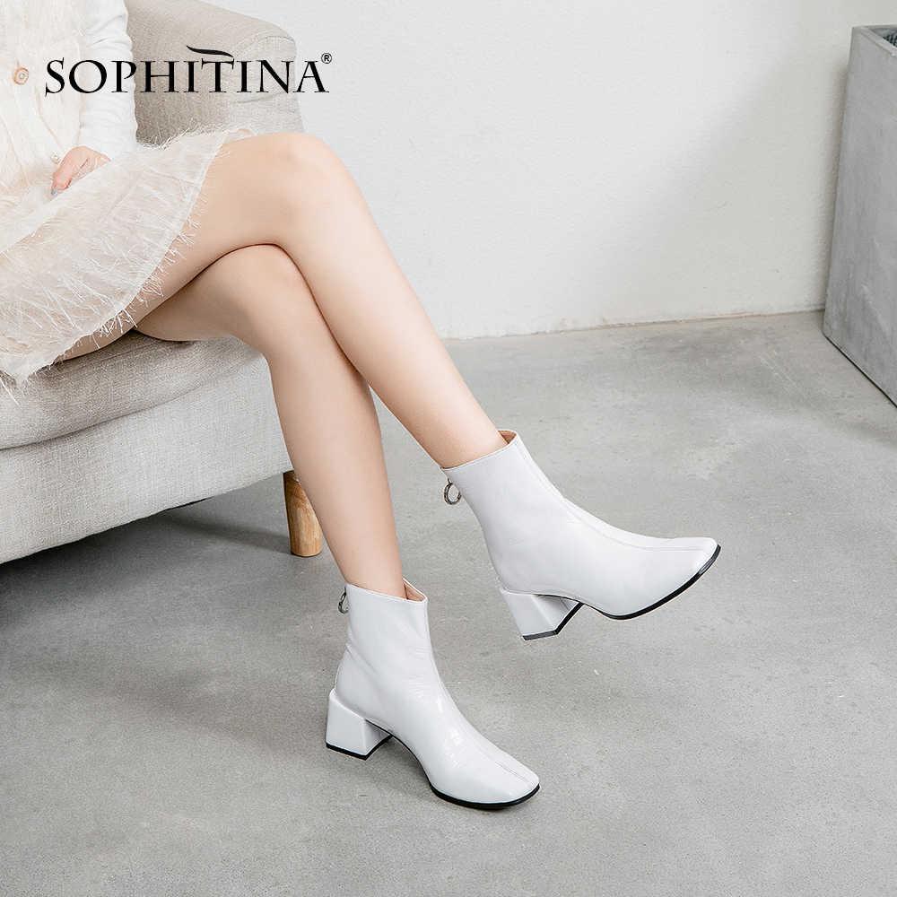 SOPHITINA Moda Kare Ayak Med Topuk Kadın yarım çizmeler Casual Slip-On Kare Topuk Ayakkabı Temel Katı El Yapımı Bayan Botları SO198